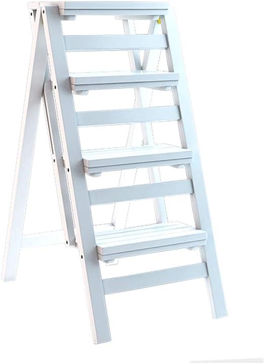 Taburete Plegable Escalera de Madera de 4 peldaños Antideslizante ...
