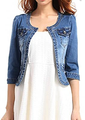 Fundu Women's Crew Neck Denim Blue Cute Three Quarter Sleeves Short Jacket