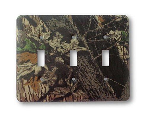Mossy Oak Break Up Camo Metal Outlet Switch Cover - Triple ()