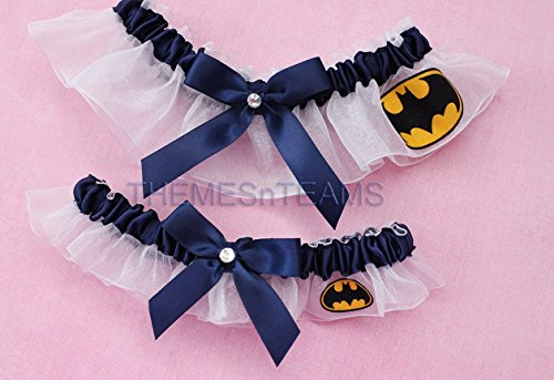 Customizable handmade – White  Navy Blue – Batman fabric handcrafted keepsake bridal garters wedding garter set tnt