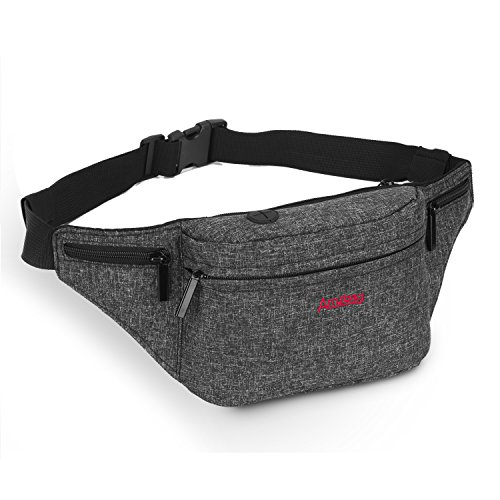 Amzbag Sport Waist Bag Unisex Fanny Pack [4-zipper pockets] Nylon Water-resistant Waist Pack With Adjustable Strap Fits 6 Inches Tablet/iPhone 7 Plus For Men/Women (Black)