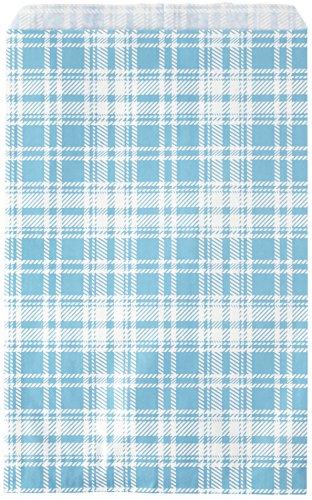 Novel Box® Blue Plaid Print Paper Gift Candy Jewelry Merchandise Bag Bundle 6X9