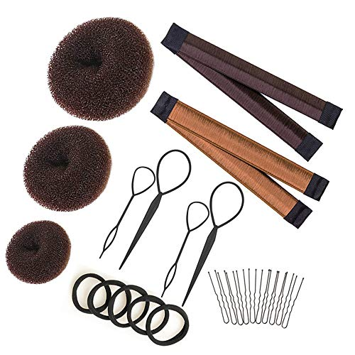 Hair Bun Maker Set Brown/Blonde/Black, The EASIEST Way to Make Buns, 3 Donuts + 2 Snap Bun Makers + 4 Topsy Tail Hair Tool + 5 Hair Elastic Bands + 10 Bobby Pins, Hair Bun Maker for Kids Women Girls