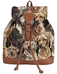 Signare Labrador Dog Print Women's Tapestry Flap Buckle Pull String Fashion Casual Rucksack Backpack (Ruck-Lab)