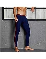 Homeilteds Heren thermisch ondergoed winter warme katoenen broek Pouch mannen Legging Tight pyjama bodem slaap broek lage stijging doek (kleur: donkerblauw, maat: XL.)
