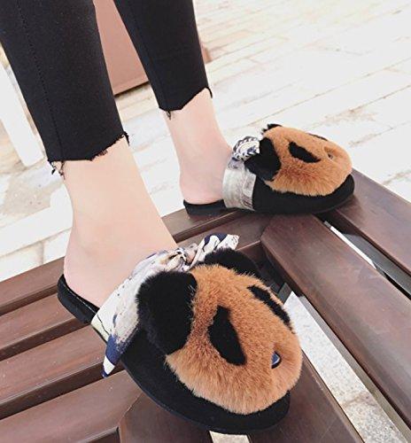 Flip Comfort marrone per Pantofole per Pelliccia Pantofole per Punta da Scarpe   628d58