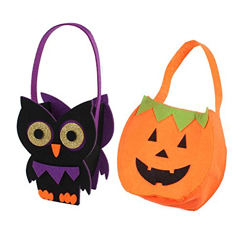 Priest Costume Australia (Spring fever 2 Pcs Halloween Pumpkin Candy Bag Trick or Treat Tote Handbag Children Kid Costume Pumpkin A and Owl)