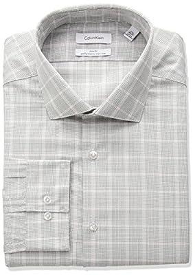 Calvin Klein Men's Non Iron Slim Fit Plaid Spread Collar Dress Shirt