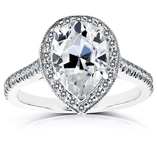 pear shape moissanite and diamond halo engagement ring 2 1. Black Bedroom Furniture Sets. Home Design Ideas