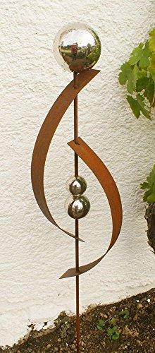 Gartendeko Rost Stecker Lieblingsstab 120 cm mit 3 Edelstahlkugeln