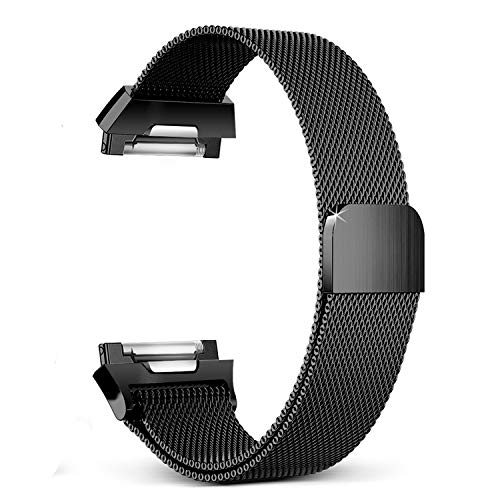 Frler for Fitbit Ionic Bands Small and Large for Women Men, Fully Magnetic Closure Clasp Mesh Loop Milanese Stainless Steel Metal Ionic Sport Band Accessories for Fitbit Ionic Smartwatch ()