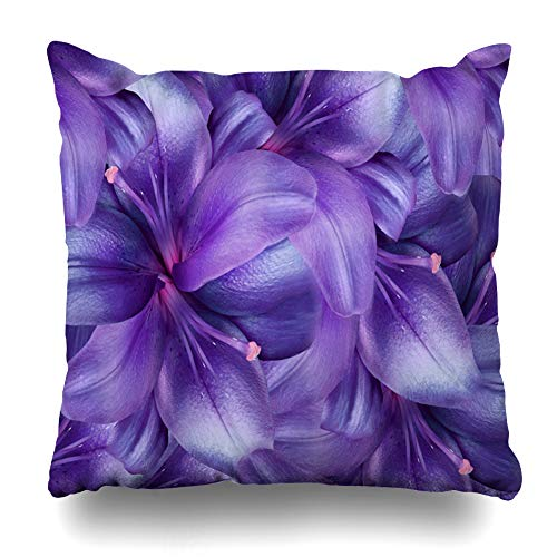 Ahawoso Throw Pillow Cover Single Pink Bouquet Lily Flowers Bright Purple Floral Collage Nature Violet Pattern Design Magazines Decor Zippered Cushion Case 18