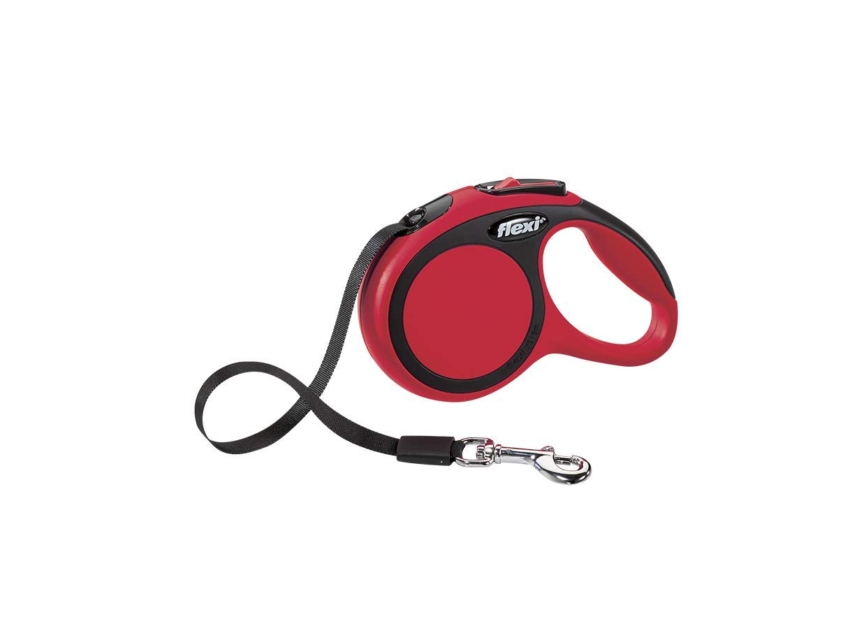 Flexi New Comfort Retractable Dog Leash (Tape), 10 ft,Extra-Small, Red by Flexi