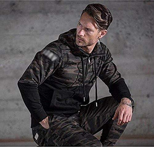 (Ruuko)メンズ 迷彩スウェットジップパーカ トレーナーパーカ トレーニング スウェットシャツ (M, アーミーグリーン)