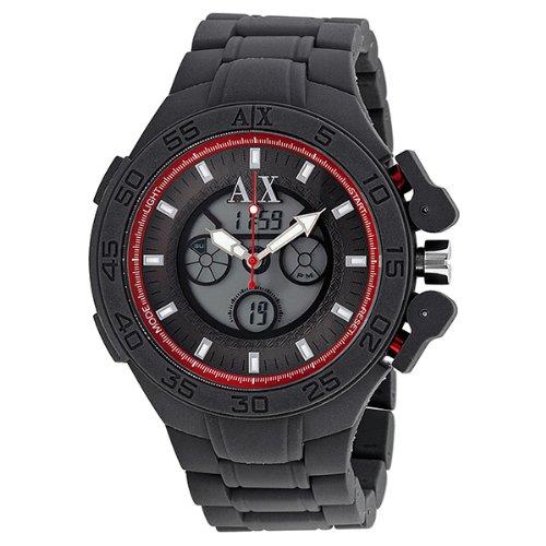 Armani Exchange Analog-Digital Grey Silicone Mens Watch AX1196