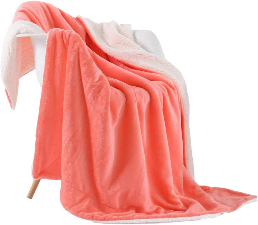 "NANPIPER Fleece Throw Blanket Reversible Sherpa Flannel Blanket Super Soft Fuzzy Plush Microfiber for Bed/Couch (50""x60"",Living Coral)"