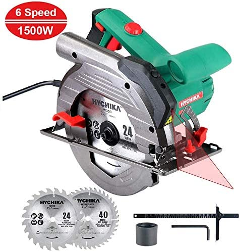 HYCHIKA Circular Saw 12.5A, 6 Variable Speeds, 2200-4700RPM, 2Pcs Blades 24T 40T 7-1 2 , Max Cutting Depth 2-1 2 90 , 1-4 5 45 , Laser Guide, Pure Copper Wire Motor, 10Ft Power Cord