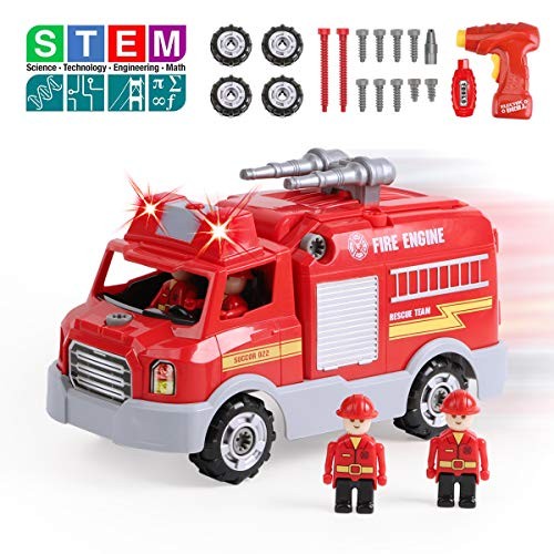 REMOKING STEM Learning Take Apart Toy for Boys & Girls, Build Your Own Car Toy Fire Truck Educational Playset with Tools and Power Drill, DIY Assembly Car with Realistic Sounds & Lights (3+ Ages) -