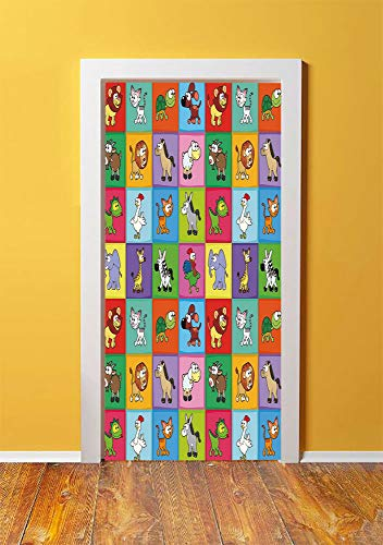 Square Porthole Mirror - Nursery 3D Door Sticker Wall Decals Mural Wallpaper,Group of Funny Young Animals in Colorful Squares Happy Cartoon Wildlife Collection Decorative,DIY Art Home Decor Poster Decoration 30.3x78.17198,Mul