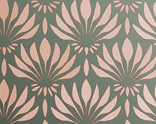 Stencil for Walls - Art Deco Fanning Flowers Pattern - Repeating allover stencil - wallpaper alternative - Reusable DIY Decor - more creative than decals!