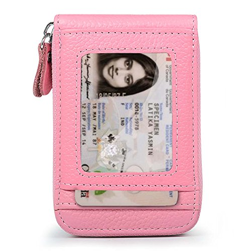 Front Pocket Mini Wallet - XeYOU RFID Blocking Genuine Leather Credit Card Case Holder Security Travel Wallet Front Pocket Wallets for Men and Women (Pink)