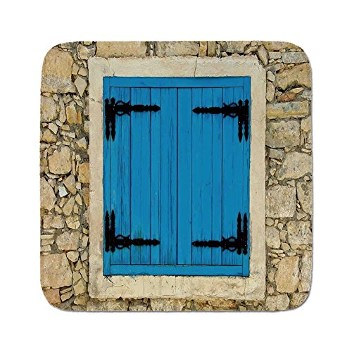 (Cozy Seat Protector Pads Cushion Area Rug,Shutters Decor,Vintage Style Decor Image of Stone House and Antique Shutters in European Village,Turquoise Cream,Easy to Use on Any Surface)