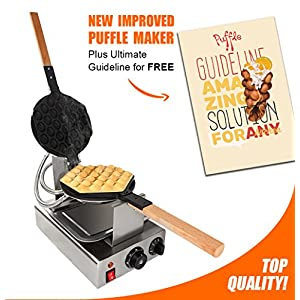 TOP Version Puffle Waffle Maker Professional Rotated Nonstick (Grill / Oven for Cooking Puff, Hong Kong Style, Egg, QQ, Muffin, Cake Eggettes and Belgian Bubble Waffles) (110V MANUAL)