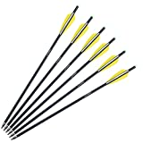 Misayar 20-Inch Carbon Crossbow Bolt Crossbolt Arrows Fletched 4 Inch Vane with Field Point (Pack of 6)