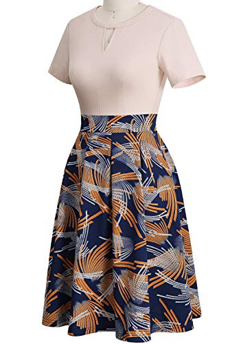 YATHON Women's Vintage Floral Flared A-Line Swing Casual Party Dresses with Pockets