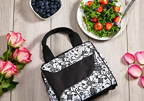 Fit & Fresh Women's Downtown Insulated Lunch Bag with Zipper Closure and Exterior Pocket, Stylish Adult Lunch Box for Work, Ebony Floral by Fit & Fresh (Image #3)