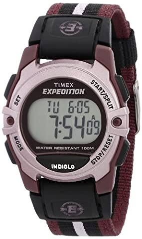 Timex Unisex T49659 Expedition Mid-Size Digital CAT Plum Stripe Nylon Strap Watch - Timex Water Resistant Watch