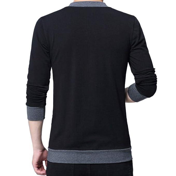 Camiseta de algodón de Manga Larga con Botones con Cuello en Pico para Hombre Manga Larga Suéter para Hombre con Cuello Camisa de Punto Sudadera Algodón ...