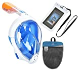 ADVSEA Tribord/Subea Easybreath Full Face Snorkel Mask (2018 Version) with Waterproof Phone Case, (Blue S-M)