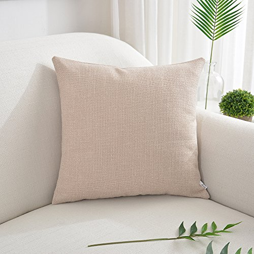 NATUS WEAVER Decorative Lined Linen Soft Texture Square Throw Cushion Covers Toss Pillow Shams Pillowcase for Home Decor, 18