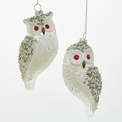 Kurt Adler 1 Set 2 Assorted White Owl Glass Ornaments