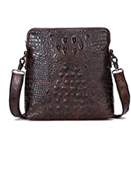 Itslife Mens Cowhide Leather Alligator Crocodile Pattern Shoulder Messenger Bag for iPad