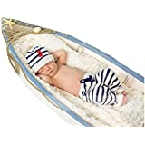 CX-Queen Baby Photography Prop Crochet Sailor Navy Stripe Anchor Hat Pants