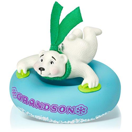 Grandson Hallmark Ornament - Hallmark Keepsake Ornament: Grandson Polar Bear in Snow Tube