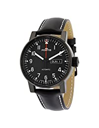 Fortis Spacematic Pilot Black Dial Black Leather Mens Watch 6231871L01