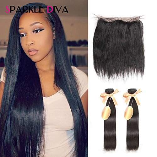 Sparkle Diva 8A Straight Weave Pre Plucked 360 Full Lace Frontal Closure (22×4×2) 130% Density with 2pcs Brazilian Virgin Real Human Hair Extensions 100grm (+/-5g)/pcs Can Be Dyed/Bleached (22 22+20)