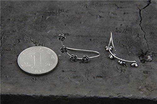 usongs Creative Qi silver silverware s925 silver women girls models beautiful flowers ear clip earrings Thai silver earrings send girlfriends