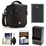 Case Logic TBC-406 Digital SLR Camera Holster Case (Black) with EN-EL14 Battery & Charger + Accessory Kit for Nikon D3100, D3200, D5100, D5200