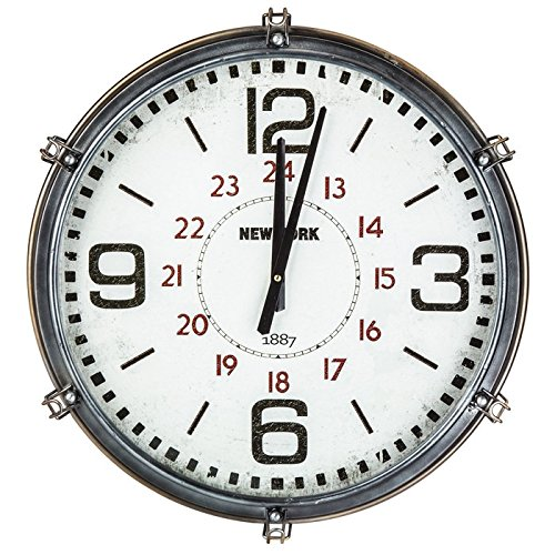 (Retro Industrial Metal Wall Clock | Riveted Cage Grille Square)