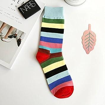 Liuxc Calcetines Calcetines de algodón Puro de los Hombres Calcetines de Rayas de Colores Calcetines de