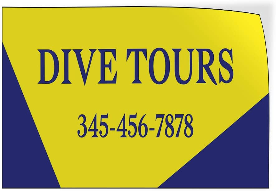 Custom Door Decals Vinyl Stickers Multiple Sizes Dive Tours Phone Number Business Dive Tours Outdoor Luggage /& Bumper Stickers for Cars Yellow 34X22Inches Set of 10