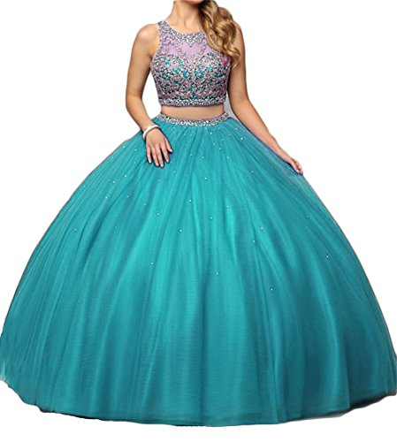 Dydsz Women's Ball Gown Long Quinceanera Dresses Prom Party 2 Piece Gold Embroidery Turquoise 4