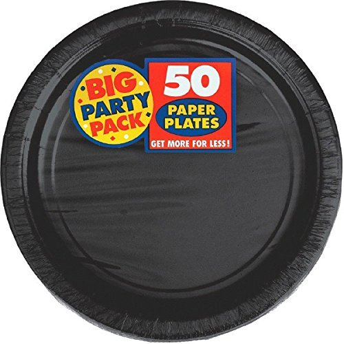 Amscan Big Party Pack Paper Luncheon Plates 7-Inch, 100/Pkg, Black by Amscan