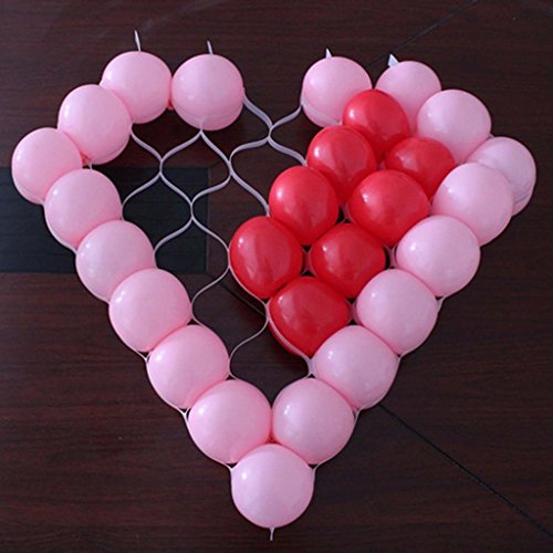38 Love Heart Shape Plastic Balloon Mesh Grid Home Party DIY Decor Gadget (without ballons)