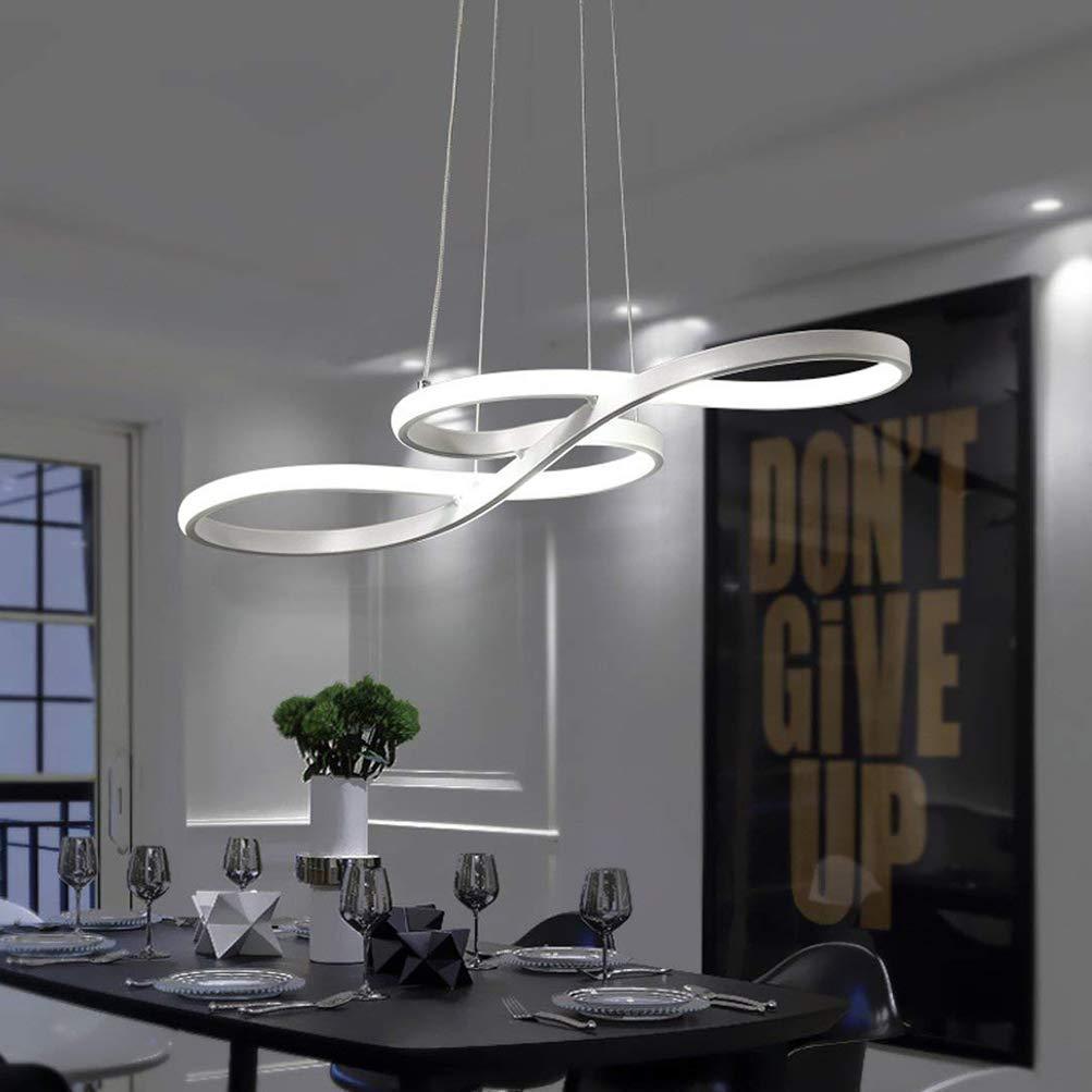 Tatosun LED Pendelleuchte Dimmbar Modernen Stil, Esstischlampe, Esszimmerlampe, Hängeleuchte, Deckenleuchte 58W, Fernbedienung, Höhenverstellbar, Acryl, Aluminium, Matt Weiß