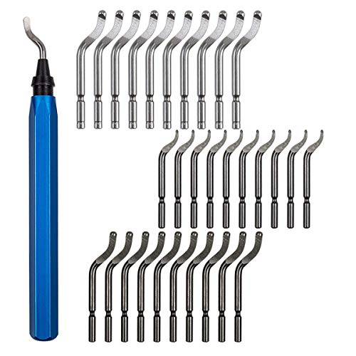 Metal Deburring Tool Kit Set, 30 Pcs Deburring Blades & a Swivel Handle, Pipe Deburring Tool for Soft Metal (Aluminum, Copper), Wood, Plastic and Steel Burr Removing by STARVAST ()